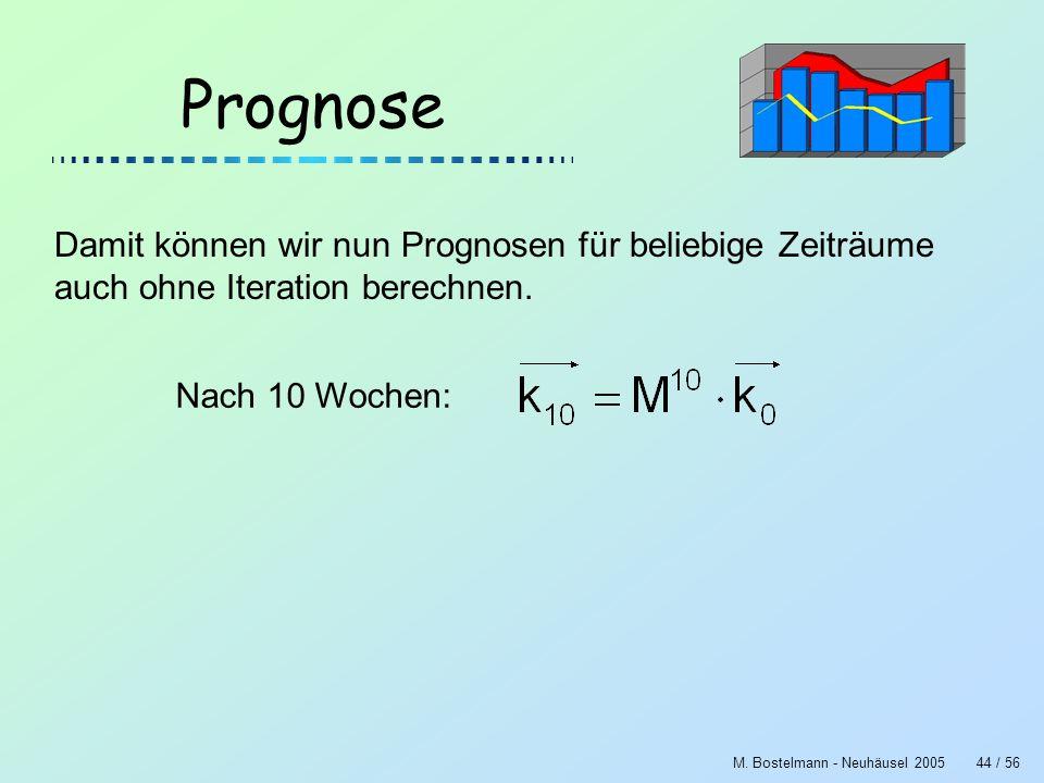 M. Bostelmann - Neuhäusel 200544 / 56 Prognose Damit können wir nun Prognosen für beliebige Zeiträume auch ohne Iteration berechnen. Nach 10 Wochen:
