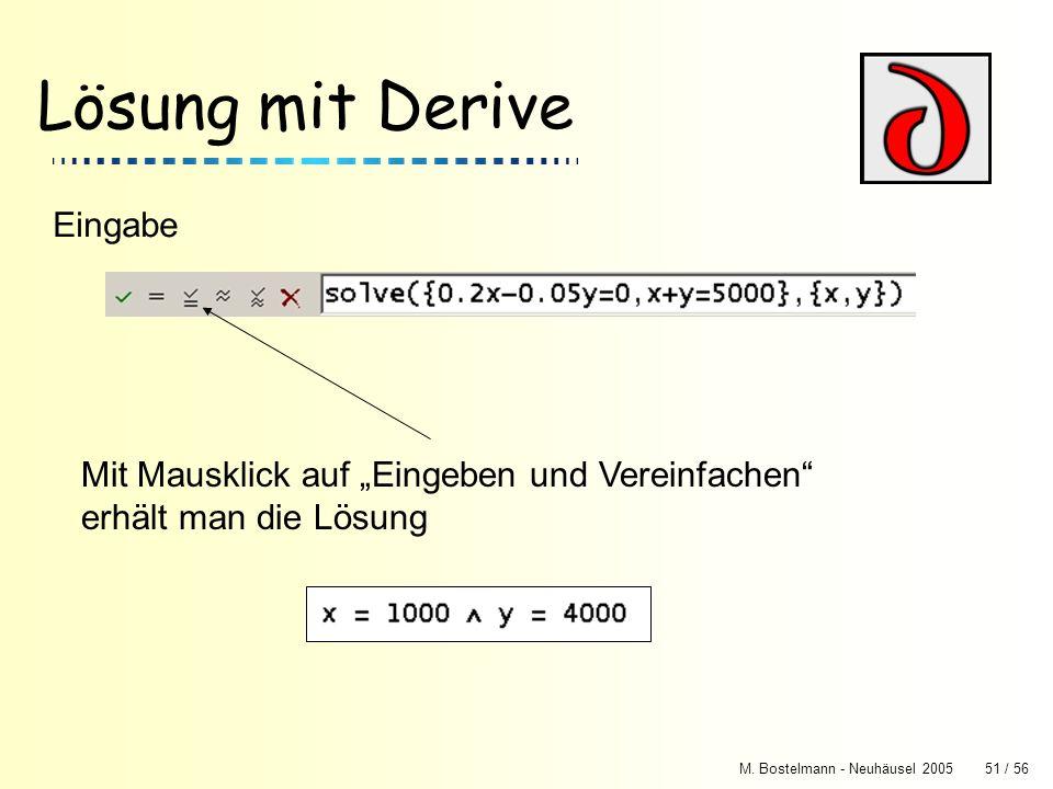 M. Bostelmann - Neuhäusel 200551 / 56 Lösung mit Derive Eingabe Mit Mausklick auf Eingeben und Vereinfachen erhält man die Lösung