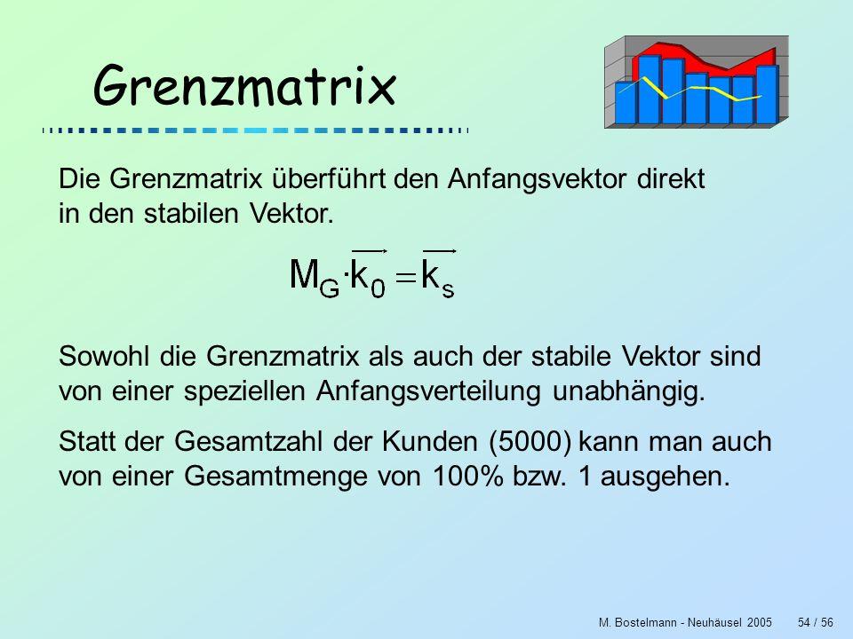 M. Bostelmann - Neuhäusel 200554 / 56 Grenzmatrix Die Grenzmatrix überführt den Anfangsvektor direkt in den stabilen Vektor. Sowohl die Grenzmatrix al
