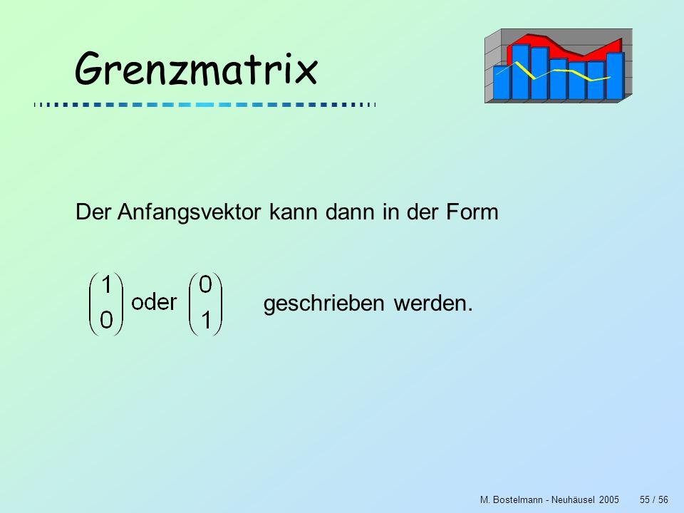 M. Bostelmann - Neuhäusel 200555 / 56 Grenzmatrix Der Anfangsvektor kann dann in der Form geschrieben werden.