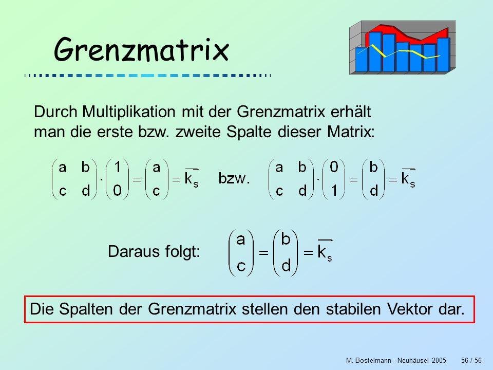 M. Bostelmann - Neuhäusel 200556 / 56 Grenzmatrix Durch Multiplikation mit der Grenzmatrix erhält man die erste bzw. zweite Spalte dieser Matrix: Dara