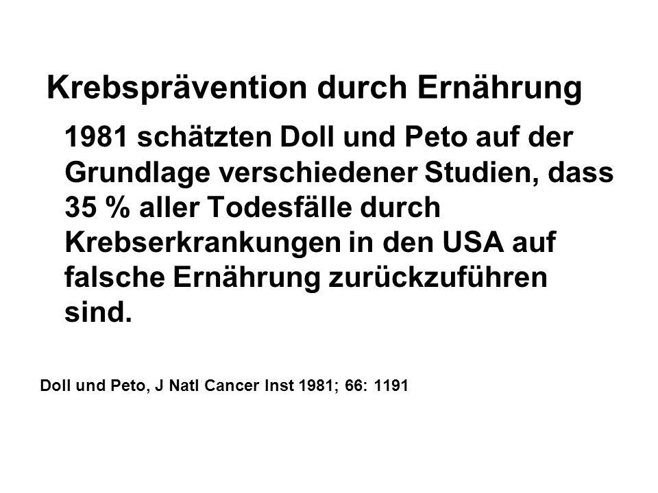 Krebsprävention durch Ernährung 1981 schätzten Doll und Peto auf der Grundlage verschiedener Studien, dass 35 % aller Todesfälle durch Krebserkrankung