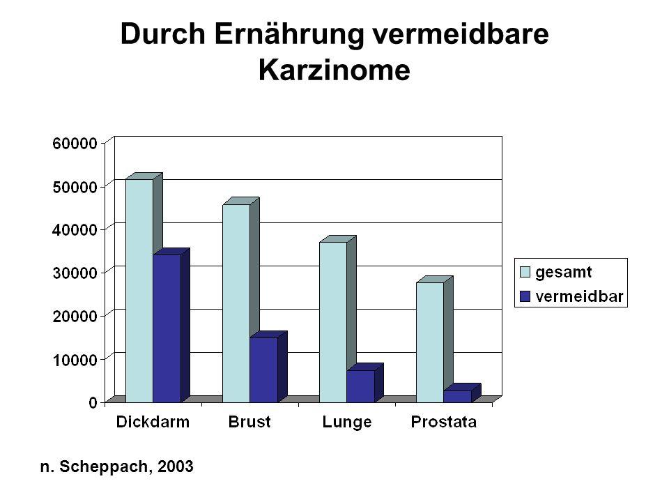 Durch Ernährung vermeidbare Karzinome n. Scheppach, 2003