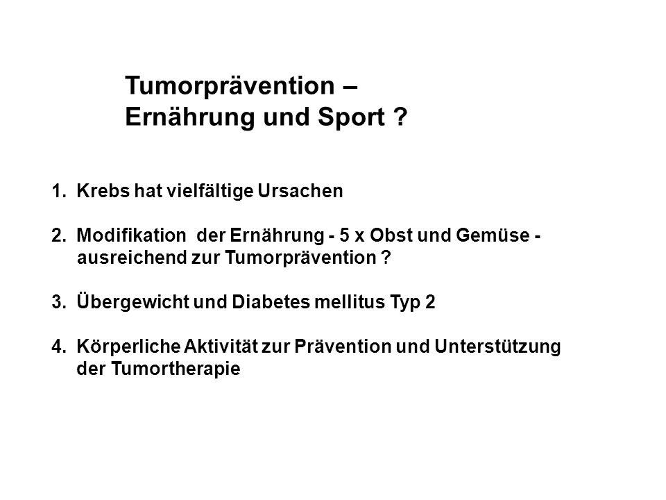 Tumorprävention – Ernährung und Sport ? 1.Krebs hat vielfältige Ursachen 2.Modifikation der Ernährung - 5 x Obst und Gemüse - ausreichend zur Tumorprä