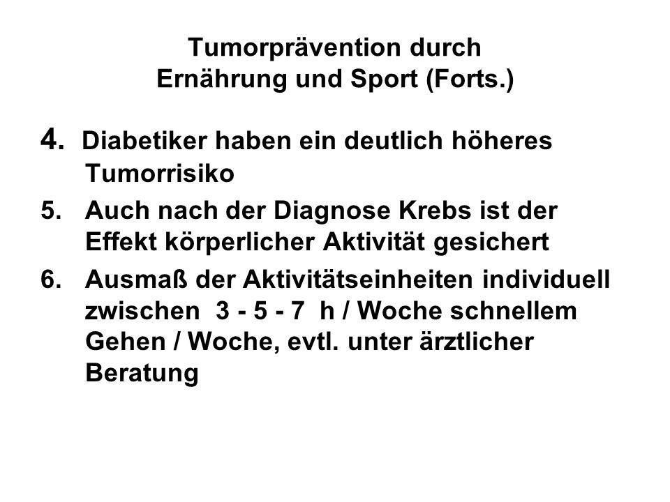 Tumorprävention durch Ernährung und Sport (Forts.) 4. Diabetiker haben ein deutlich höheres Tumorrisiko 5.Auch nach der Diagnose Krebs ist der Effekt