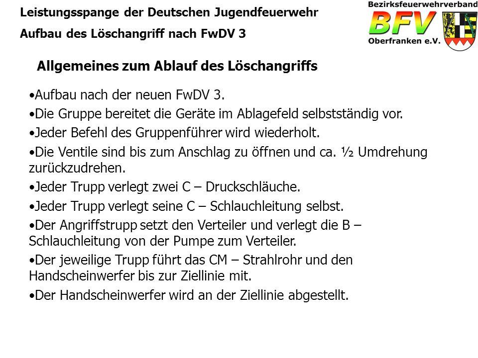 Leistungsspange der Deutschen Jugendfeuerwehr Aufbau des Löschangriff nach FwDV 3 Allgemeines zum Ablauf des Löschangriffs Aufbau nach der neuen FwDV
