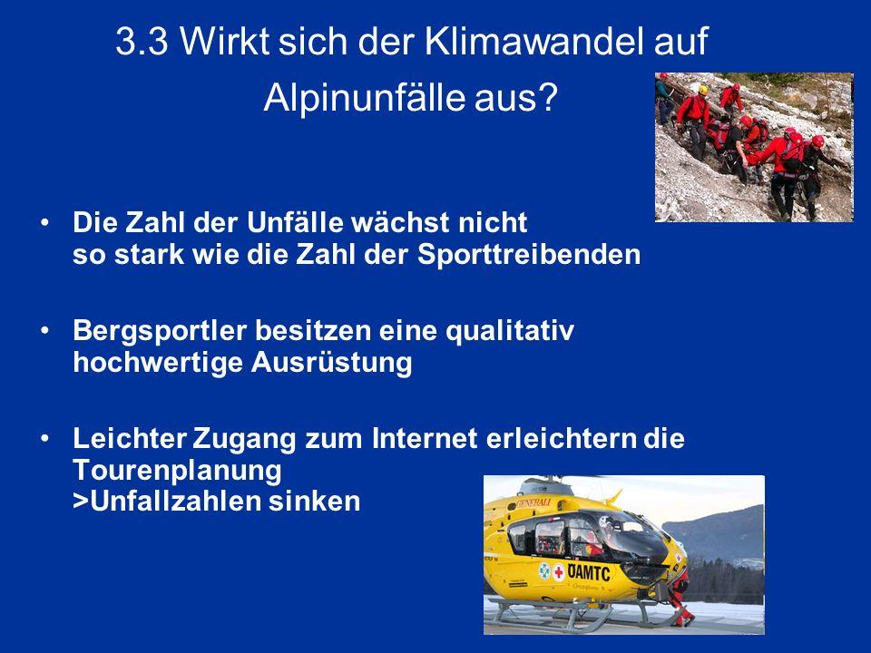 3.3 Wirkt sich der Klimawandel auf Alpinunfälle aus? Die Zahl der Unfälle wächst nicht so stark wie die Zahl der Sporttreibenden Bergsportler besitzen