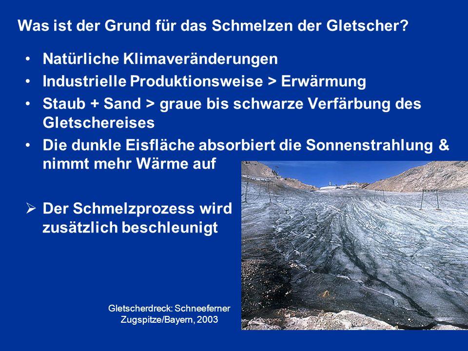 Natürliche Klimaveränderungen Industrielle Produktionsweise > Erwärmung Staub + Sand > graue bis schwarze Verfärbung des Gletschereises Die dunkle Eis