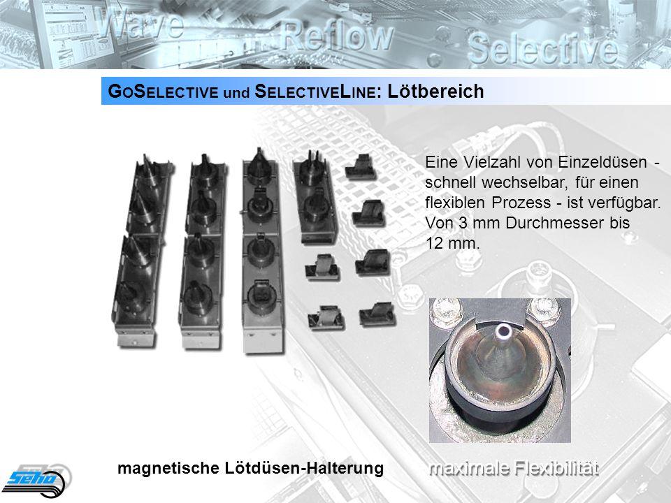 15 G O S ELECTIVE und S ELECTIVE L INE : Lötbereich Eine Vielzahl von Einzeldüsen - schnell wechselbar, für einen flexiblen Prozess - ist verfügbar. V
