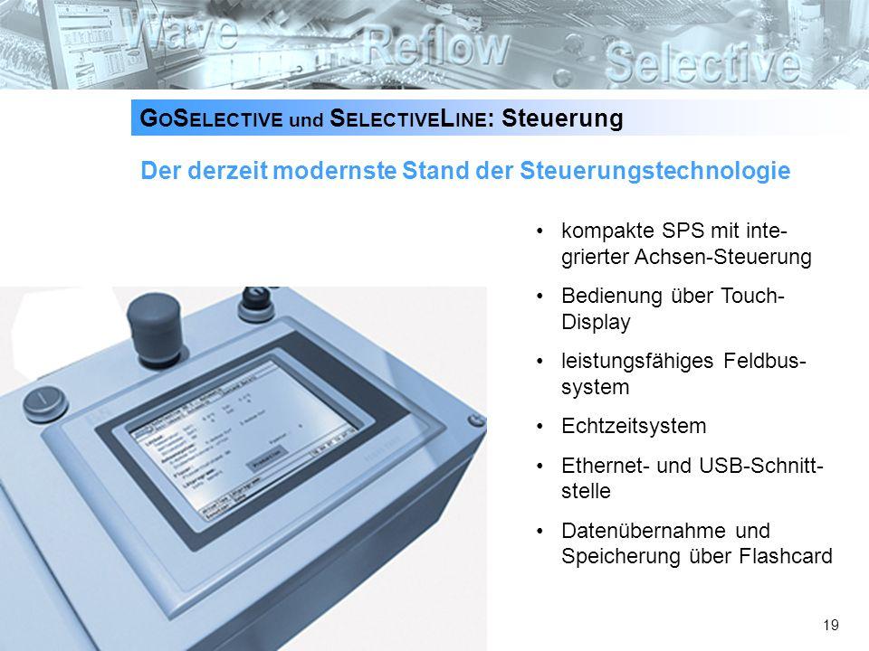 19 Der derzeit modernste Stand der Steuerungstechnologie kompakte SPS mit inte- grierter Achsen-Steuerung Bedienung über Touch- Display leistungsfähig