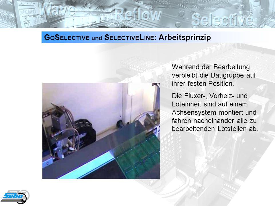 3 G O S ELECTIVE und S ELECTIVE L INE : Einsatzbereich System für flexible Miniwellen-Lötprozesse bei kleinen und mittleren Losgrößen je nach Ihren Anforderungen: als Stand-Alone System (GoSelective) mit manueller Eingabe und Entnahme der Baugruppen oder Inline (SelectiveLine) zur Integrierung in eine automatische Fertigungslinie maximale Werkstückträger- oder Board-Abmessungen: bis 500 x 500 mm Achsensystem, zur exakten Positionierung der einzelnen Prozessstationen Mikro-Tropfenfluxer für einen punktgenauen Flussmittelauftrag Löteinheit, geeignet für bleifreie und bleihaltige Applikationen mit automatischer Wellenhöhenregelung