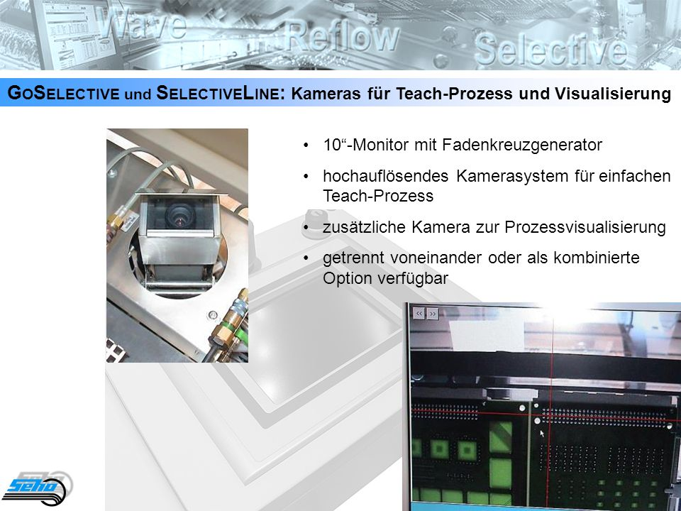21 G O S ELECTIVE und S ELECTIVE L INE : Kameras für Teach-Prozess und Visualisierung 10-Monitor mit Fadenkreuzgenerator hochauflösendes Kamerasystem