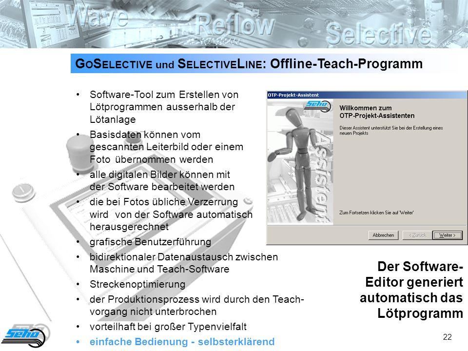 22 G O S ELECTIVE und S ELECTIVE L INE : Offline-Teach-Programm Software-Tool zum Erstellen von Lötprogrammen ausserhalb der Lötanlage Basisdaten könn