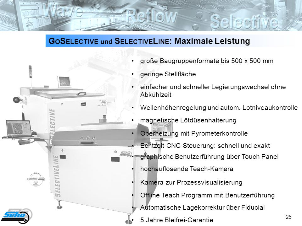 25 G O S ELECTIVE und S ELECTIVE L INE : Maximale Leistung große Baugruppenformate bis 500 x 500 mm geringe Stellfläche einfacher und schneller Legier