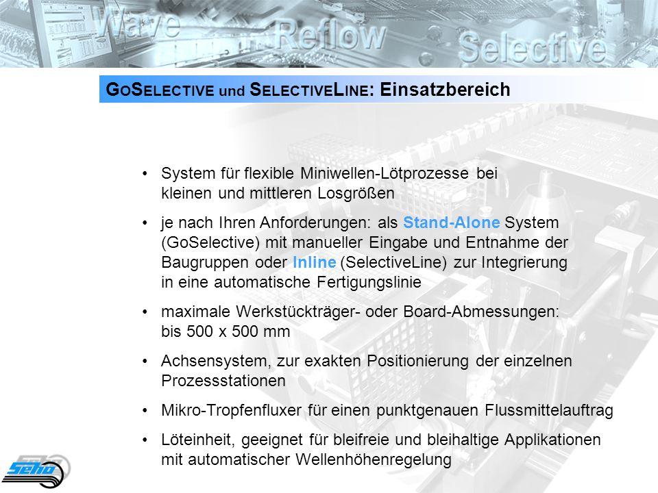 3 G O S ELECTIVE und S ELECTIVE L INE : Einsatzbereich System für flexible Miniwellen-Lötprozesse bei kleinen und mittleren Losgrößen je nach Ihren An