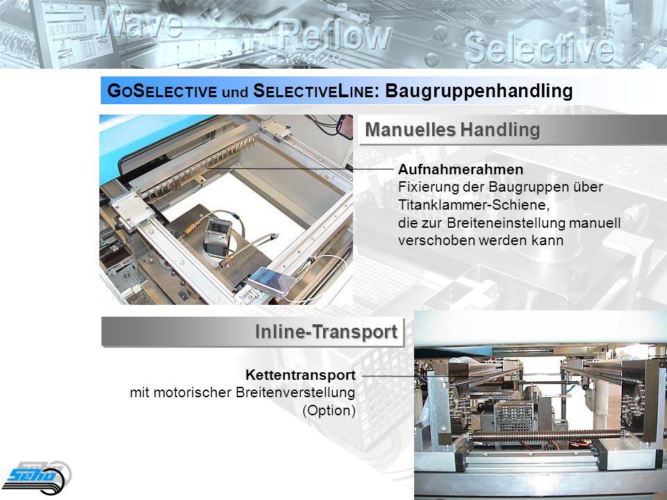 15 G O S ELECTIVE und S ELECTIVE L INE : Lötbereich Eine Vielzahl von Einzeldüsen - schnell wechselbar, für einen flexiblen Prozess - ist verfügbar.