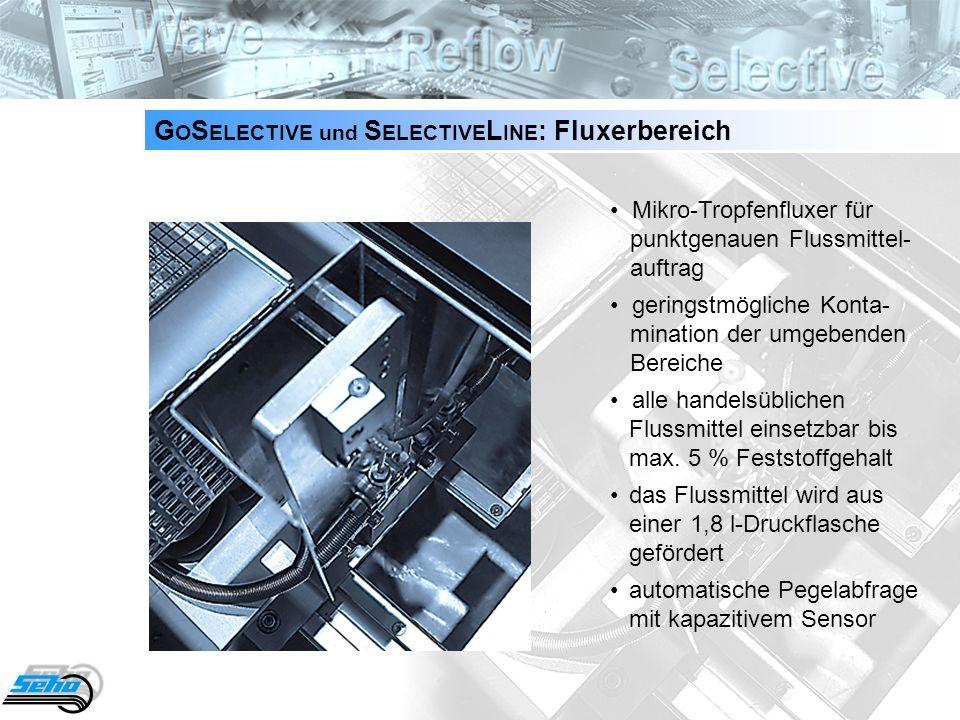 9 G O S ELECTIVE und S ELECTIVE L INE : Fluxerbereich Mikro-Tropfenfluxer für punktgenauen Flussmittel- auftrag geringstmögliche Konta- mination der u
