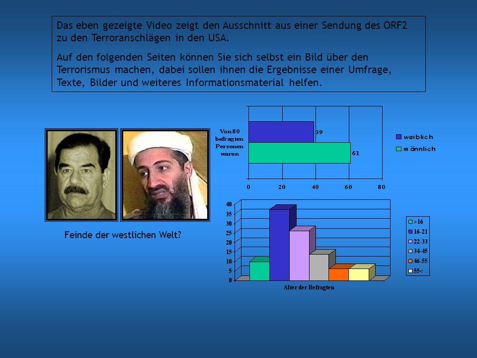 Das eben gezeigte Video zeigt den Ausschnitt aus einer Sendung des ORF2 zu den Terroranschlägen in den USA. Auf den folgenden Seiten können Sie sich s