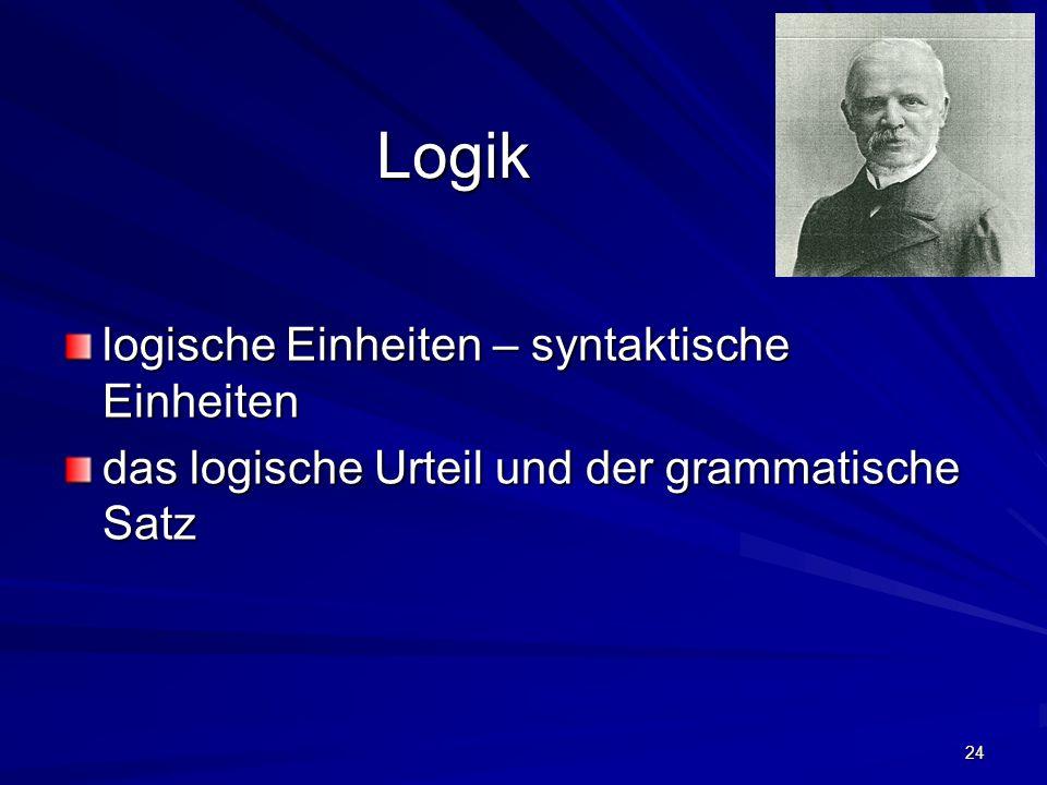 24 Logik logische Einheiten – syntaktische Einheiten das logische Urteil und der grammatische Satz