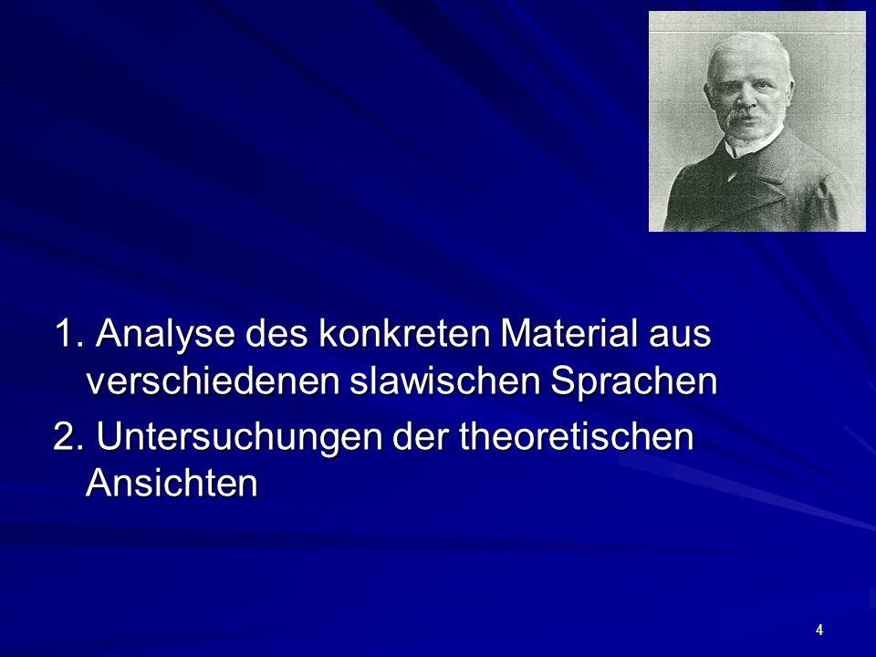 4 1. Analyse des konkreten Material aus verschiedenen slawischen Sprachen 2.