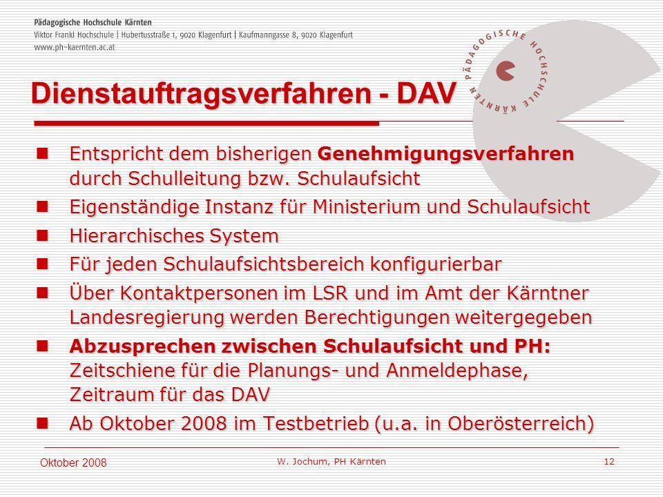 W. Jochum, PH Kärnten 12 Oktober 2008 Entspricht dem bisherigen Genehmigungsverfahren durch Schulleitung bzw. Schulaufsicht Entspricht dem bisherigen