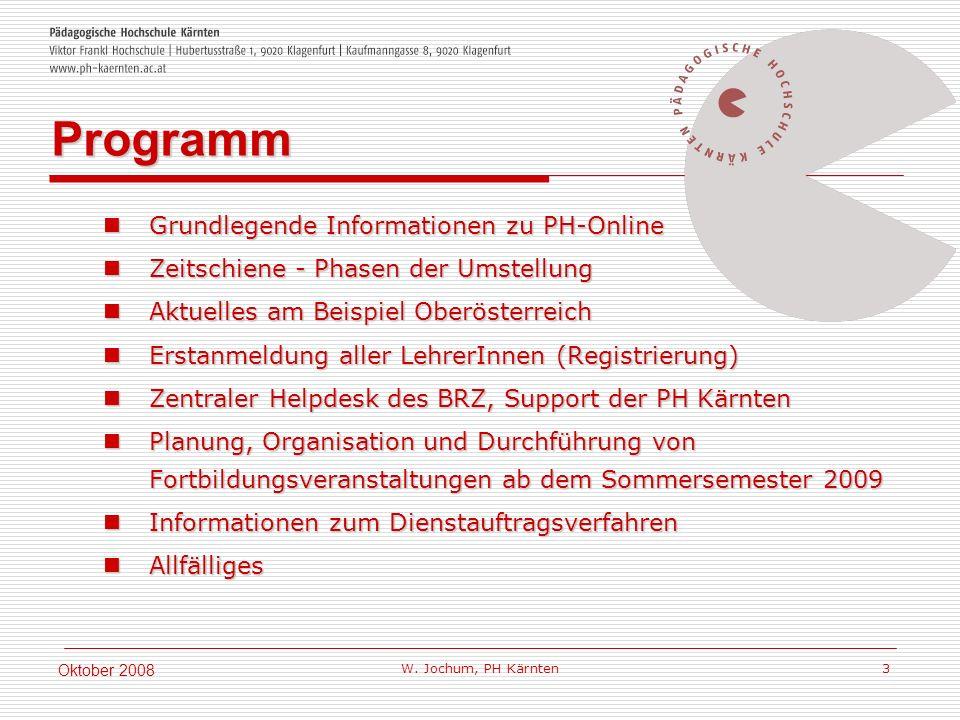 W. Jochum, PH Kärnten 3 Oktober 2008 Grundlegende Informationen zu PH-Online Grundlegende Informationen zu PH-Online Zeitschiene - Phasen der Umstellu