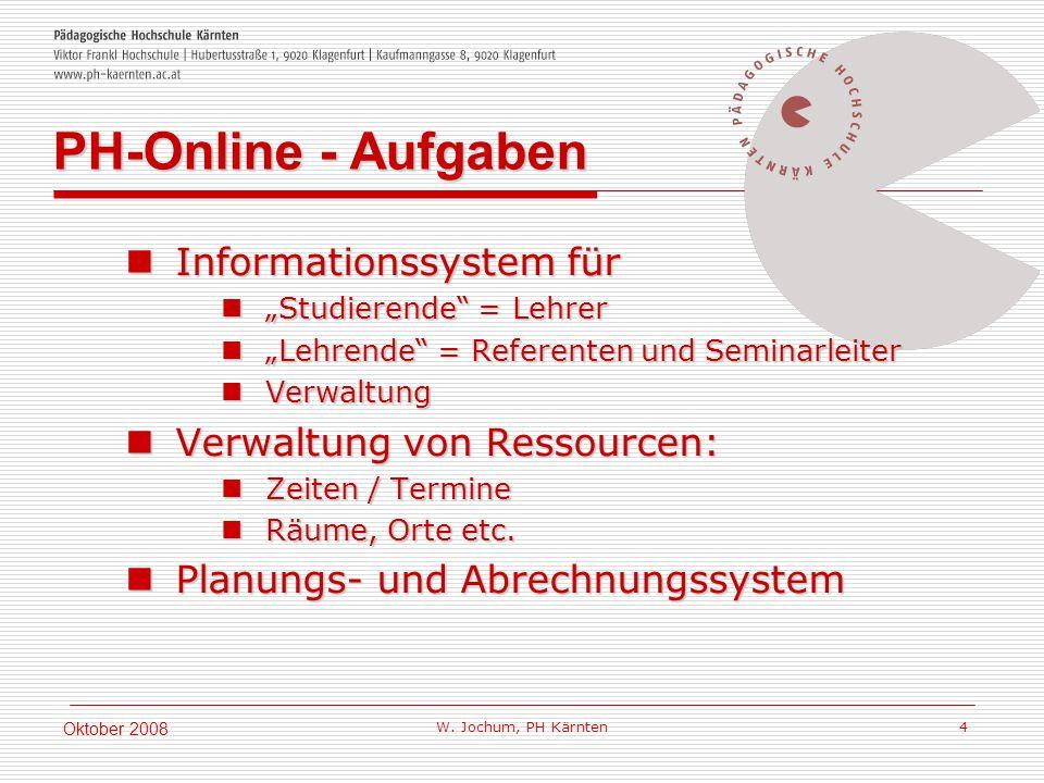 W. Jochum, PH Kärnten 4 Oktober 2008 Informationssystem für Informationssystem für Studierende = Lehrer Studierende = Lehrer Lehrende = Referenten und