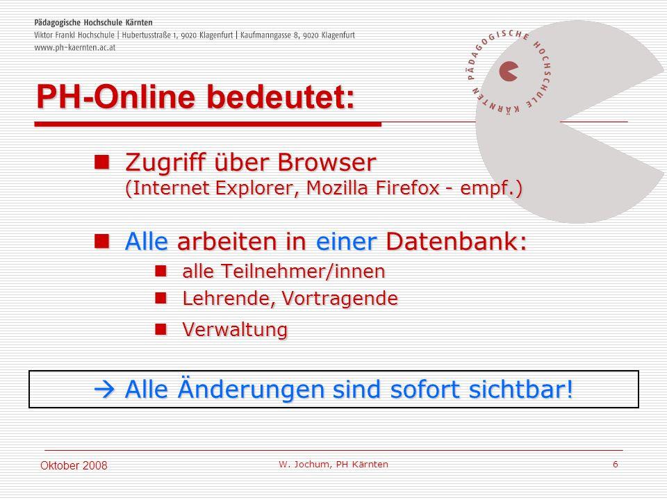 W. Jochum, PH Kärnten 6 Oktober 2008 Zugriff über Browser (Internet Explorer, Mozilla Firefox - empf.) Zugriff über Browser (Internet Explorer, Mozill