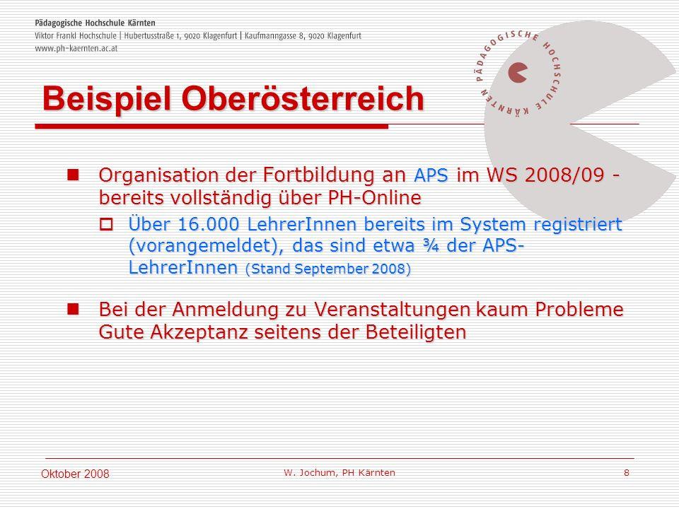 W. Jochum, PH Kärnten 8 Oktober 2008 Organisation der Fortbildung an APS im WS 2008/09 - bereits vollständig über PH-Online Organisation der Fortbildu