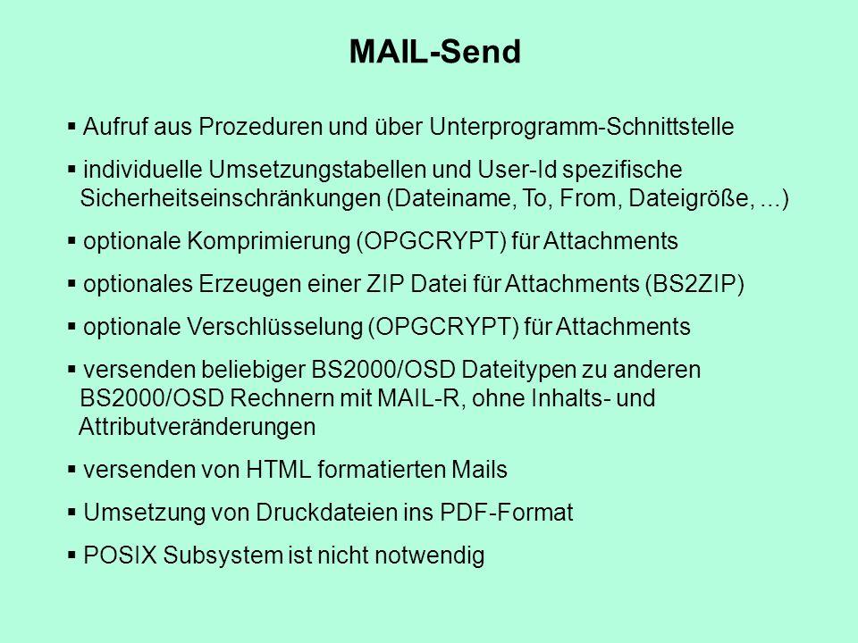 Aufruf aus Prozeduren und über Unterprogramm-Schnittstelle individuelle Umsetzungstabellen und User-Id spezifische Sicherheitseinschränkungen (Dateina