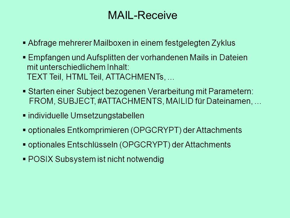 Abfrage mehrerer Mailboxen in einem festgelegten Zyklus Empfangen und Aufsplitten der vorhandenen Mails in Dateien mit unterschiedlichem Inhalt: TEXT