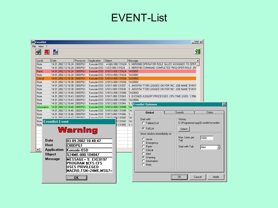 Empfang und Anzeige der durch EVENT-SCAN und TRAP-SEND gesendeten Meldungen verschiedene Meldungsklassen: Note, Info, Warning, Alert,...