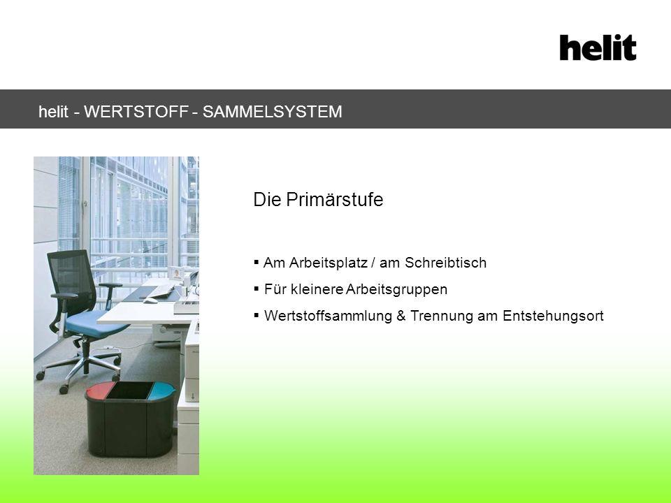 helit - WERTSTOFF - SAMMELSYSTEM Die Primärstufe Am Arbeitsplatz / am Schreibtisch Für kleinere Arbeitsgruppen Wertstoffsammlung & Trennung am Entsteh