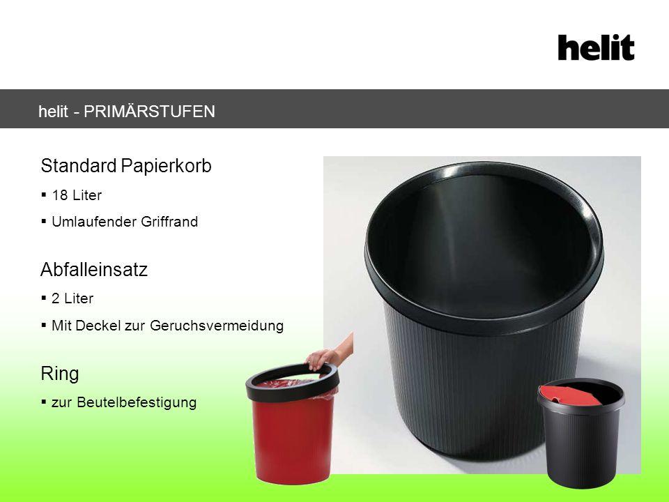 helit - PRIMÄRSTUFEN Standard Papierkorb 18 Liter Umlaufender Griffrand Abfalleinsatz 2 Liter Mit Deckel zur Geruchsvermeidung Ring zur Beutelbefestig