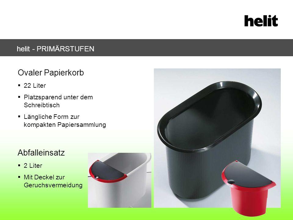 helit - PRIMÄRSTUFEN Ovaler Papierkorb 22 Liter Platzsparend unter dem Schreibtisch Längliche Form zur kompakten Papiersammlung Abfalleinsatz 2 Liter