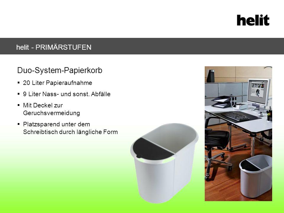 helit - PRIMÄRSTUFEN Duo-System-Papierkorb 20 Liter Papieraufnahme 9 Liter Nass- und sonst. Abfälle Mit Deckel zur Geruchsvermeidung Platzsparend unte