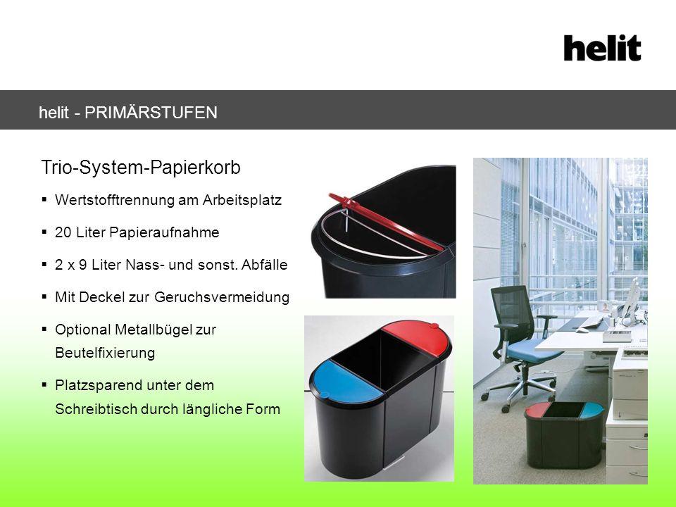 helit - PRIMÄRSTUFEN Trio-System-Papierkorb Wertstofftrennung am Arbeitsplatz 20 Liter Papieraufnahme 2 x 9 Liter Nass- und sonst. Abfälle Mit Deckel