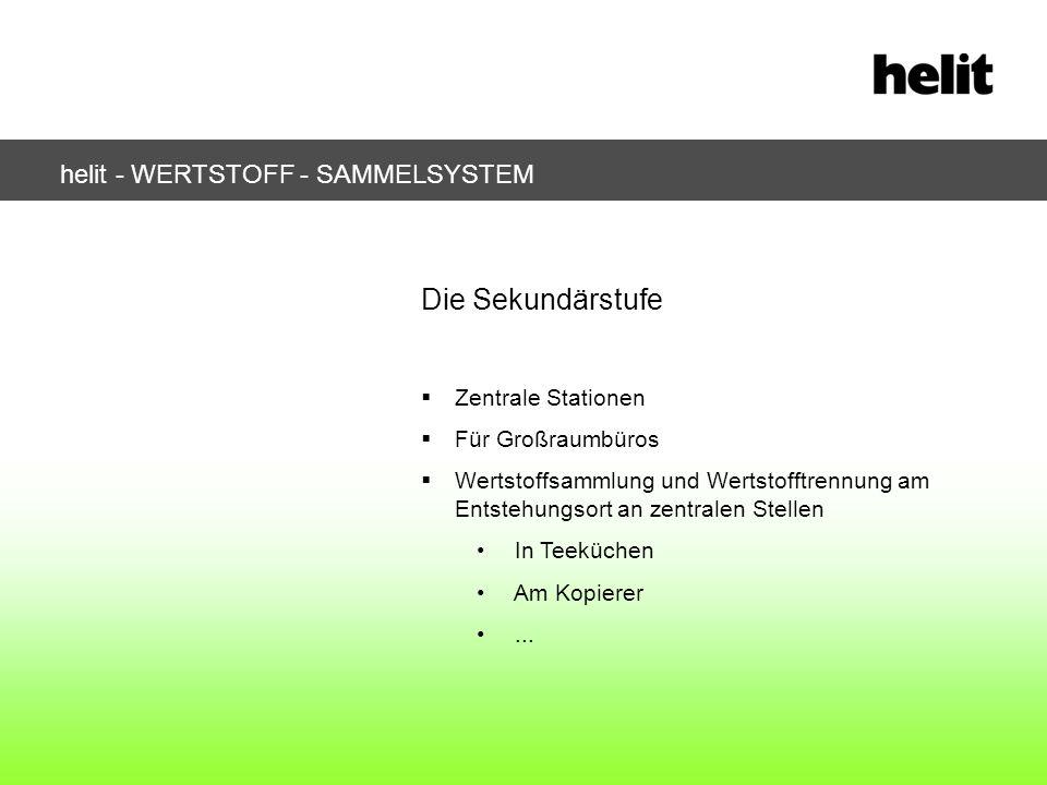 helit - WERTSTOFF - SAMMELSYSTEM Die Sekundärstufe Zentrale Stationen Für Großraumbüros Wertstoffsammlung und Wertstofftrennung am Entstehungsort an z