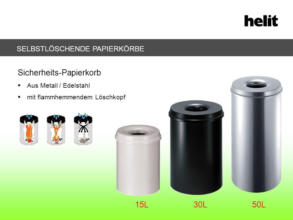 SELBSTLÖSCHENDE PAPIERKÖRBE Sicherheits-Papierkorb Aus Metall / Edelstahl mit flammhemmendem Löschkopf 15L30L50L