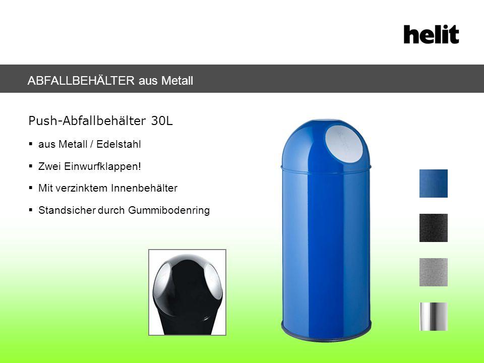 Push-Abfallbehälter 30L aus Metall / Edelstahl Zwei Einwurfklappen! Mit verzinktem Innenbehälter Standsicher durch Gummibodenring