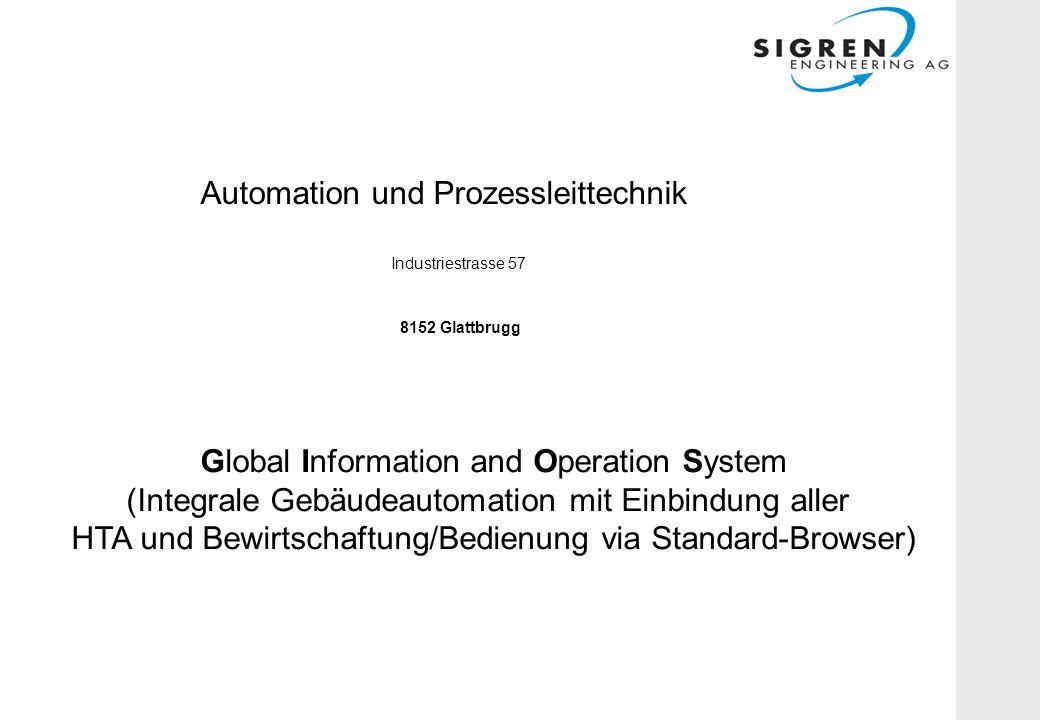 Automation und Prozessleittechnik Industriestrasse 57 8152 Glattbrugg Global Information and Operation System (Integrale Gebäudeautomation mit Einbindung aller HTA und Bewirtschaftung/Bedienung via Standard-Browser)