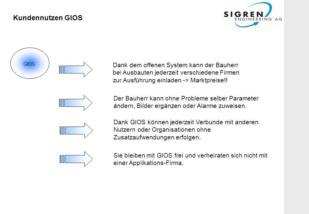 Kundennutzen GIOS Dank dem offenen System kann der Bauherr bei Ausbauten jederzeit verschiedene Firmen zur Ausführung einladen -> Marktpreise!.