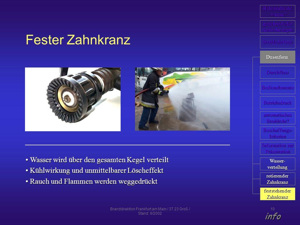 Branddirektion Frankfurt am Main / 37.23 Groß / Stand: 9/2002 10 Fester Zahnkranz Wasser wird über den gesamten Kegel verteilt Wasser wird über den ge