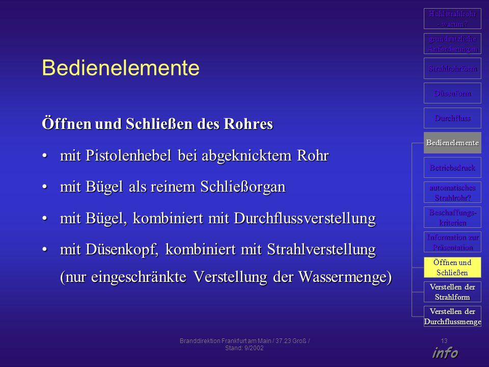 Branddirektion Frankfurt am Main / 37.23 Groß / Stand: 9/2002 13 Bedienelemente Öffnen und Schließen des Rohres mit Pistolenhebel bei abgeknicktem Roh
