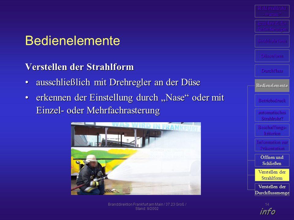 Branddirektion Frankfurt am Main / 37.23 Groß / Stand: 9/2002 14 Bedienelemente Verstellen der Strahlform ausschließlich mit Drehregler an der Düseaus
