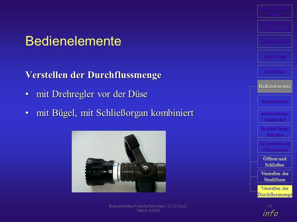 Branddirektion Frankfurt am Main / 37.23 Groß / Stand: 9/2002 15 Bedienelemente Verstellen der Durchflussmenge mit Drehregler vor der Düsemit Drehregl