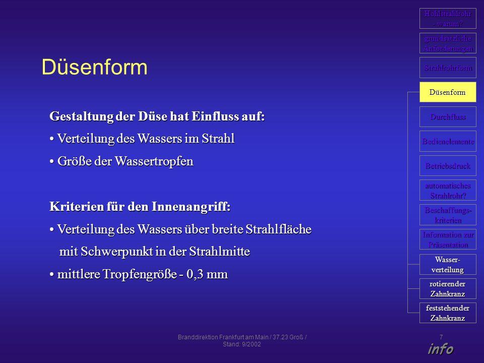 Branddirektion Frankfurt am Main / 37.23 Groß / Stand: 9/2002 7 Düsenform Gestaltung der Düse hat Einfluss auf: Verteilung des Wassers im Strahl Verte