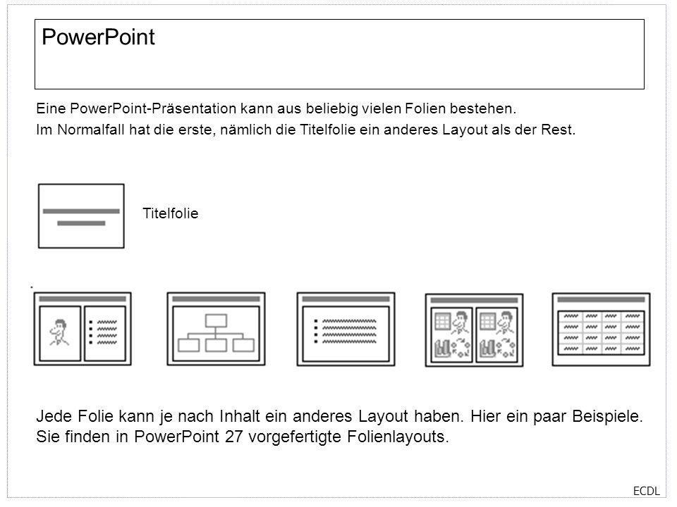 ECDL PowerPoint Eine PowerPoint-Präsentation kann aus beliebig vielen Folien bestehen. Im Normalfall hat die erste, nämlich die Titelfolie ein anderes