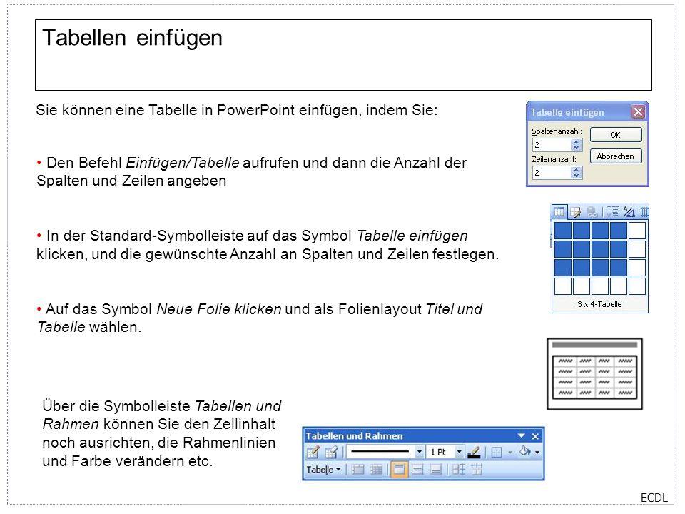 ECDL Tabellen einfügen Sie können eine Tabelle in PowerPoint einfügen, indem Sie: Den Befehl Einfügen/Tabelle aufrufen und dann die Anzahl der Spalten und Zeilen angeben In der Standard-Symbolleiste auf das Symbol Tabelle einfügen klicken, und die gewünschte Anzahl an Spalten und Zeilen festlegen.