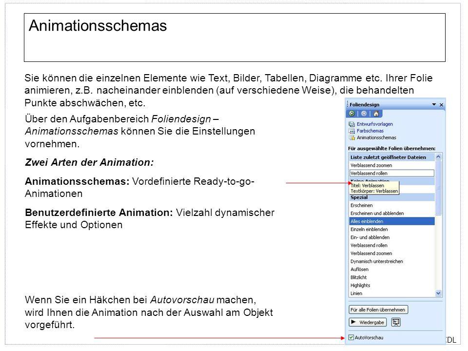 ECDL Über den Aufgabenbereich Foliendesign – Animationsschemas können Sie die Einstellungen vornehmen. Zwei Arten der Animation: Animationsschemas: Vo